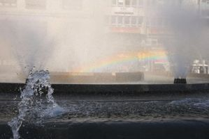 Rainbow in a fountain by oldspider26