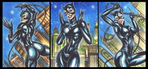 CATWOMAN BATMAN RETURNS PERSONAL SKETCH CARDS by AHochrein2010