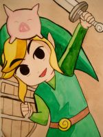 Toon link with a little piglet by cincin82