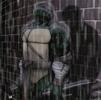 MNT Gaiden - Raphael in rain by Tigerfog