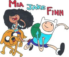 Finn Jake and Mia time by TheGreatMarceline