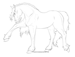 STOCK LINEART - Friesian by chaoticXinsane