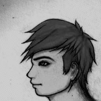 Varmt black and white face from the side by AiraayArt