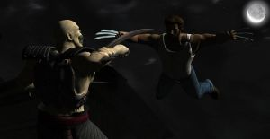 Baraka vs. Wolverine by blufan