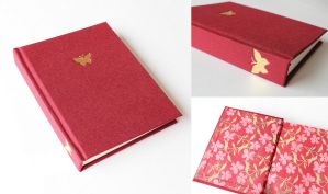 Red Journal with Gilded Butterfly by GatzBcn
