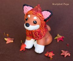 Shiba Puppy wearing a fox hat by SculptedPups
