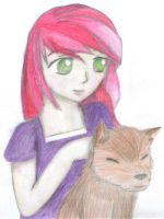 Girl with wolf by EllenorMererid