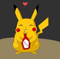 Pikachu with ketchup by OutOfTheAshes95