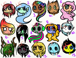 Little Monsters- Headshot adopts OPEN by WrongCog