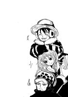 luffy x nami x law by MellcatNinA