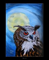 Eurasian Eagle-owl by Clu-art