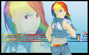 F - Rainbow Dash-Wallpaper- by Zemiki