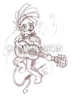 COMM - The Voodoo Guitar Player by Olive-Owl