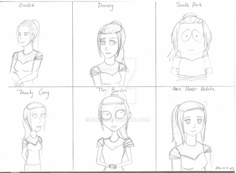 An art class task - me as cartoon characters by Riki93