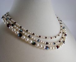 Crystal and Pearl 3 Strand Choker by BeadfulStrings