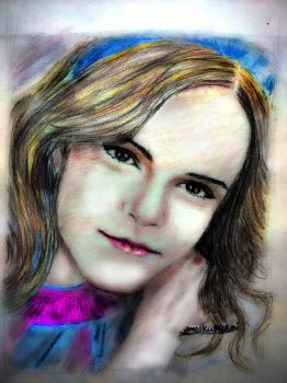 Emma Watson Color Faber Castell Pencil Drawing by amolkulkarni107