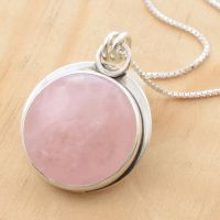 Rose Quartz Mucha Pendant by metalsmitten