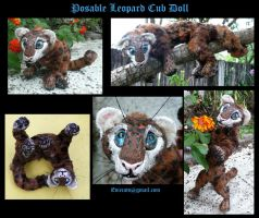 Leopard Cub Posable Art Doll by Eviecats
