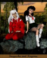 Inuyasha and Kagome by EliaJasmine