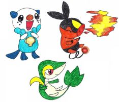 unova starters by FrozenFeather
