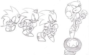 Old School Sonic Sketches by SupaSilver