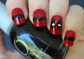 Deadpool nails by AStudyInPolish