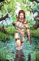 Red Sonja in the Water - Gouache by edtadeo