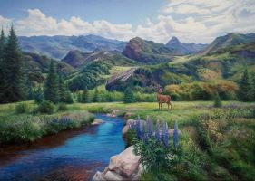 View of the mountains by dolgopolov-victor