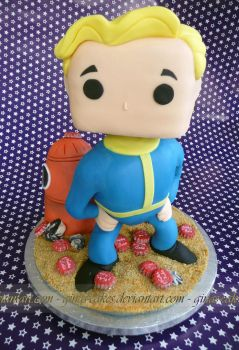 Vault Boy Pop Cake by ginas-cakes