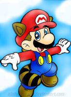raccoon mario by Nintendrawer