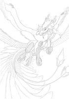 Dragon of rainbow lineart by Lordka18
