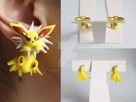 Jolteon Eeveelution Pokemon Earrings by ArtzieRush