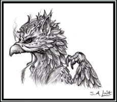 Detailed Gryphon Bust by singham-wilk