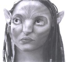 Pencil Realism - Neytiri by AndrewFisherArt