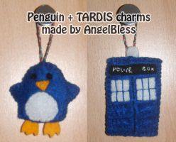 Penguin + TARDIS charms by AngelBless