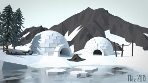 Igloos [LowPoly] by Mezaka