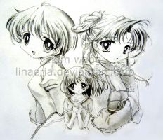 3 anime girls by linaeria