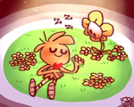 Sleep in a flowerbed by Celebi9