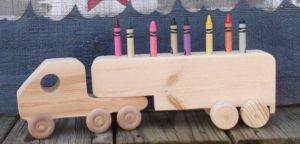 Wooden Tractor Trailer Crayon Holder by CarolinaCountryCraft