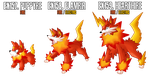 Fakemon: EX157-EX159 Alternate Fire starters 2 by MTC-Studios