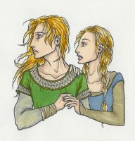 Young Eomer and Eowyn by KidaGreenleaf