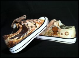 Custom Painted Steampunk Themed Airwalk Shoes by Lunnie