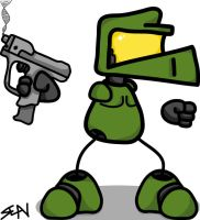Master Chief with pistol by Comrade-Max