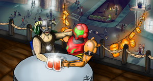 Going out, Samus and Dovahkiin by quadren4