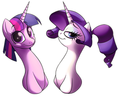 Twilight and Rarity's New Dos by Petalierre
