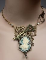Fairy the key-keeper fantasy necklace by Pinkabsinthe