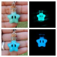 Mario glow in the dark star blue and aqua necklace by Saloscraftshop