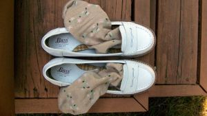Jane's White Penny Loafers with Tan Flowered Socks by peerlesspenny