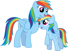 Rainbow Dash and Lil Rainbow by 90Sigma