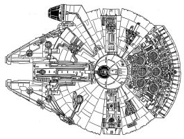 Millennium Falcon Top View by RedSpider2008